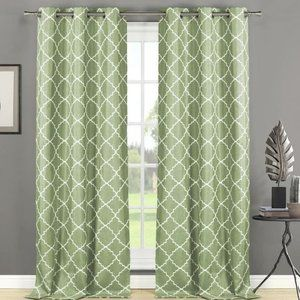 Epworth Embroidered Curtains Panels 76 x 84 NEW